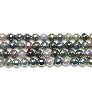 India Agate Stone Faceted Rainbow Lustered Round 6mm BeadsBeads by Halcraft Collection