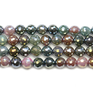 India Agate Stone Faceted Rainbow Lustered Round 8mm BeadsBeads by Halcraft Collection