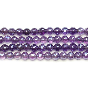 Amethyst Stone Faceted Silver Lustered Round 6mm BeadsBeads by Halcraft Collection