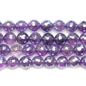 Amethyst Stone Faceted Silver Lustered Round 10mm BeadsBeads by Halcraft Collection