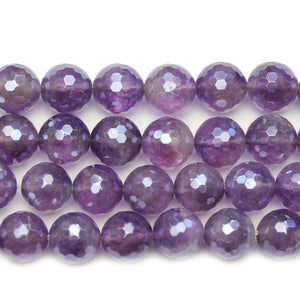 Amethyst Stone Faceted Silver Lustered Round 11.7mm BeadsBeads by Halcraft Collection