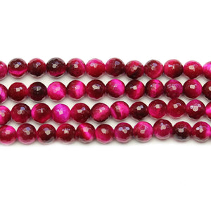 Pink Dyed Tiger Eye Stone Faceted Silver Lustered Round 6mm BeadsBeads by Halcraft Collection