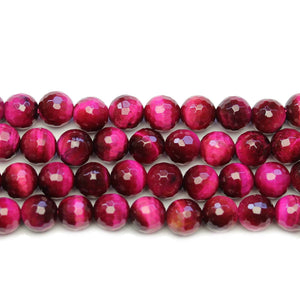 Pink Dyed Tiger Eye Stone Faceted Silver Lustered Round 8.5mm BeadsBeads by Halcraft Collection