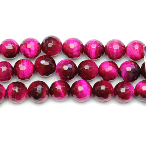 Pink Dyed Tiger Eye Stone Faceted Silver Lustered Round 10mm BeadsBeads by Halcraft Collection