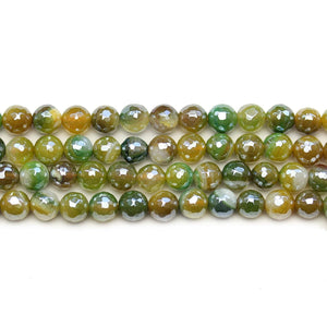 Dyed Agate Stone Faceted Silver Lustered Round 6mm BeadsBeads by Halcraft Collection