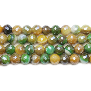 Dyed Agate Stone Faceted Silver Lustered Round 8mm BeadsBeads by Halcraft Collection
