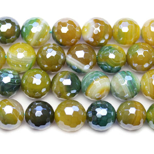 Dyed Agate Stone Faceted Silver Lustered Round 12mm BeadsBeads by Halcraft Collection