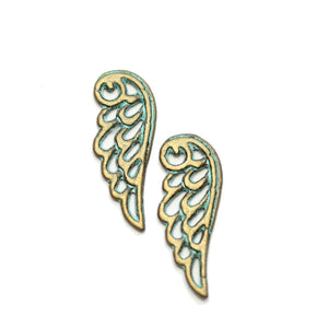 Brass Patina Plated Wing 9x24mm Charms - 2pcsCharm by Halcraft Collection