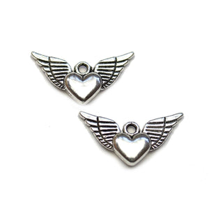 Silver Plated Flying Heart 12x25mm Charms - 2pcsCharm by Halcraft Collection