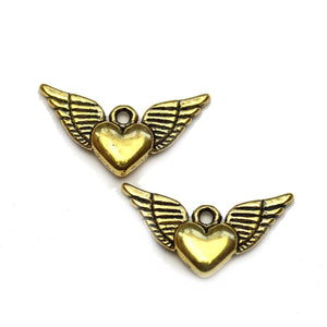 Gold Tone Flying Heart 12x25mm Charms - 2pcsCharm by Halcraft Collection