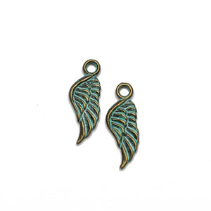 Brass Patina Plated Wing 7x22mm Charms - 2pcsCharm by Halcraft Collection