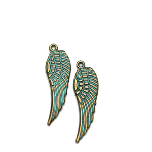 Brass Patina Plated Wing 10x30mm Charms - 2pcsCharm by Halcraft Collection