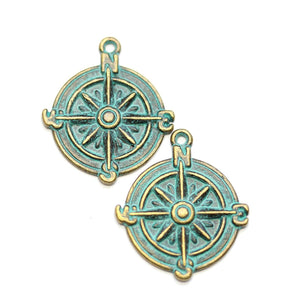 Brass Patina Plated Compass 25mm Charms - 2pcsCharm by Halcraft Collection
