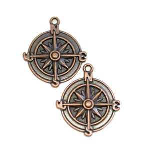 Copper Tone Compass 25mm Charms - 2pcsCharm by Halcraft Collection