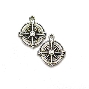 Silver Plated Compass 17mm Charms - 2pcsCharm by Halcraft Collection