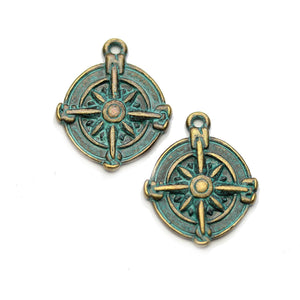 Brass Patina Plated Compass 17mm Charms - 2pcsCharm by Halcraft Collection