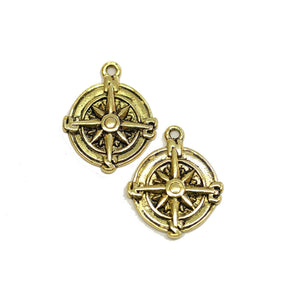 Gold Tone Compass 17mm Charms - 2pcsCharm by Halcraft Collection