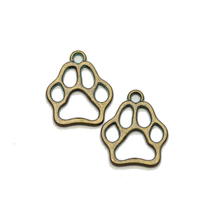 Brass Patina Plated Paw 17mm Charms - 2pcsCharm by Halcraft Collection