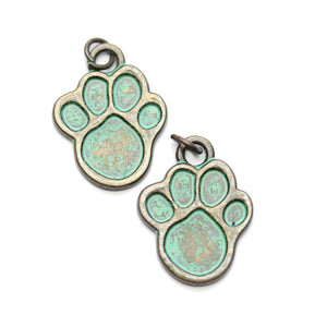 Brass Patina Plated Paw 17x22mm Charms - 2pcsCharm by Halcraft Collection