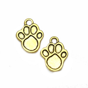Paw Gold Tone 17x22mm Charms - 2pcsCharm por Halcraft Collection