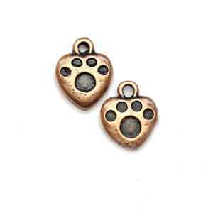 Copper Tone Heart with Paw 12x15mm Charms - 2pcsCharm by Halcraft Collection