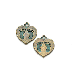 Brass Patina Plated Heart with Feet 14x15mm Charms - 2pcsCharm by Halcraft Collection