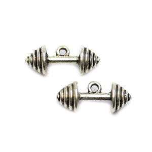 Silver Plated Barbell 10x24mm Charms - 2pcsCharm by Halcraft Collection