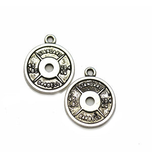 Antiqued Silver Plated Barbell Plate 17mm Charms - 2pcsCharm by Halcraft Collection