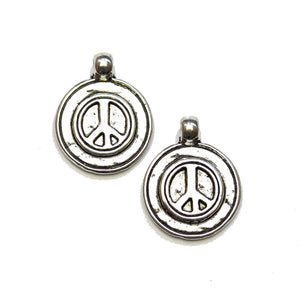 Silver Plated Double Sided Peace Sign Coin 16mm Charms - 2pcsCharm by Halcraft Collection
