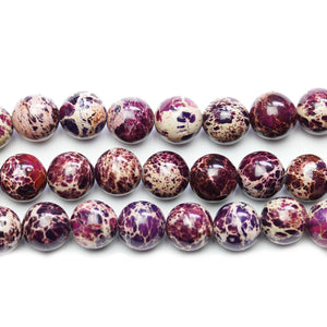 Purple Dyed Imperial Jasper Stone Round 10mm BeadsBeads by Halcraft Collection