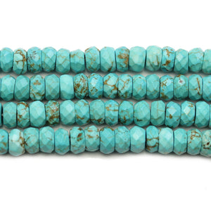 Turquoise Dyed Howlite Faceted Rondell 4x8mm BeadsBeads by Halcraft Collection