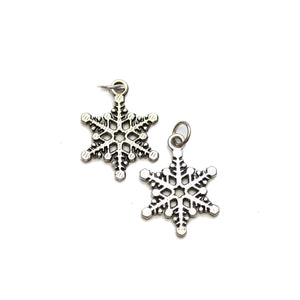 Silver Plated Snowflake 15x20mm Charms - 2pcsCharm by Halcraft Collection