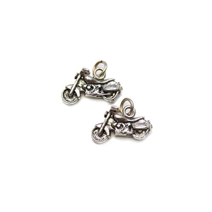 Silver Plated Motorcycle 10x17mm Charms - 2pcsCharm by Halcraft Collection