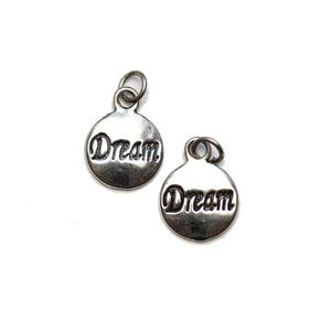 "Dijes ""Dream"" de 12 x 15 mm chapados en plata - 2 piezas Charm de Halcraft Collection"