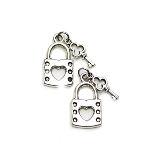 Silver Plated Lock & Key 12x22mm Charms - 2pcsCharm by Halcraft Collection