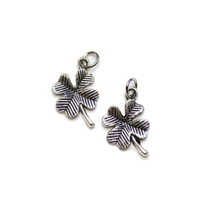 Silver Plated 4 Leaf Clover 12x19mm Charms - 2pcsCharm by Halcraft Collection