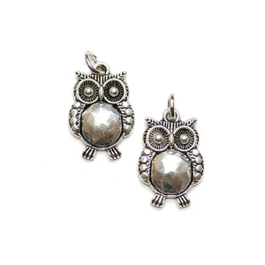 Silver Plated Owl 14x21mm Charms - 2pcsCharm by Halcraft Collection