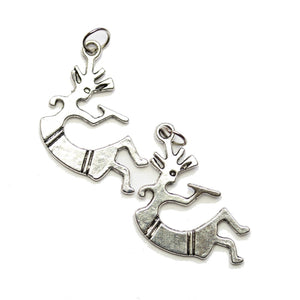 Encantos Kokopelli chapados en plata de 17x32 mm - 2pcsCharm by Halcraft Collection
