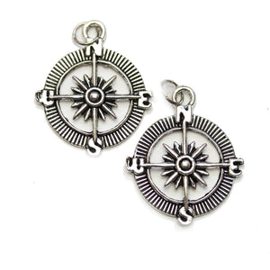 Silver Plated Compass 22x30mm Charms - 2pcsCharm by Halcraft Collection
