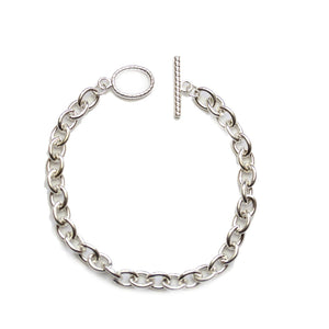 Silver Plated Chain Bracelet with Oval ToggleCharm by Halcraft Collection
