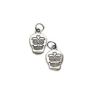 Silver Plated Skull 11x17mm Charms - 2pcsCharm by Halcraft Collection