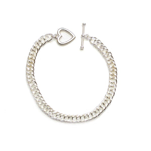 Silver Plated Chain Bracelet with Heart ToggleCharm by Halcraft Collection