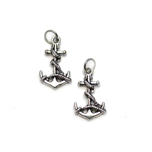 Silver Plated Anchor with Line 11x18mm Charms - 2pcsCharm by Halcraft Collection