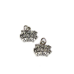 "Silver Plated ""World Greatest Mom"" 12x15mm Charms - 2pcsCharm by Halcraft Collection"