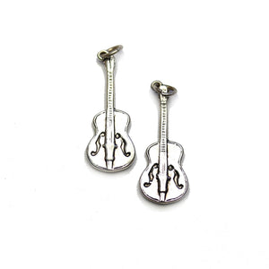 Silver Plated Guitar 10x26mm Charms - 2pcsCharm by Halcraft Collection
