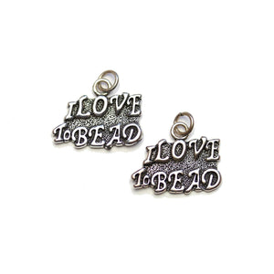 "Silver Plated ""I Love to Bead"" 15x19mm Charms - 2pcsCharm by Halcraft Collection"