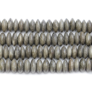 Philippine Polished Wood Grey 4x10mm Rondell BeadsBeads by Halcraft Collection