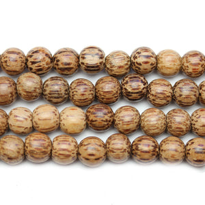 Philippine Polished Palm Wood Natural Tan 8mm Round BeadsBeads by Halcraft Collection