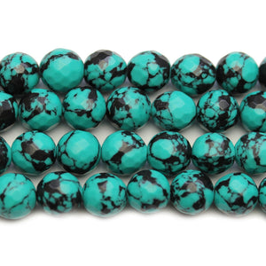 Reconstituted Turquoise & Black Faceted Round 10mm BeadsBeads by Halcraft Collection