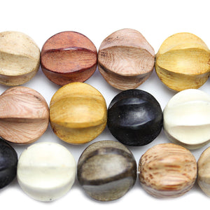 Philippine Carved Wood Multi Color Melon Deep Grooves 20mm Round BeadsBeads by Halcraft Collection